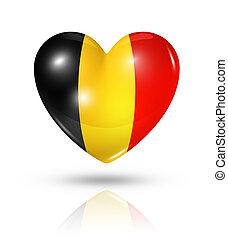 愛, ベルギー, 心, 旗, アイコン