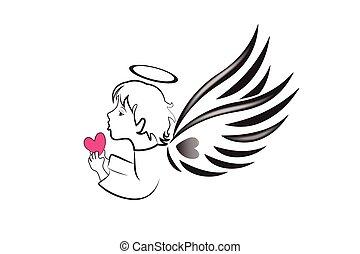 愛, ロゴ, 心, 天使