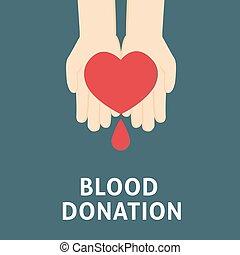 愛, 人々, 寄付, に対して, 手, 寄付, 血