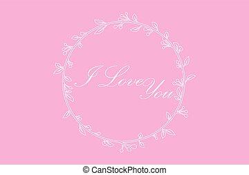 愛, 分支, 框架, 輪, 矢量, 信, 你, 常春藤