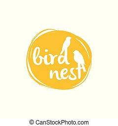 愛, 多忙である, すずめ, 巣, 平和, シンボル。, 鳥, ロゴ, icon., 鳥, design.