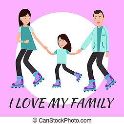 愛, 家族, ポスター, テキスト, 円, 私, 背景