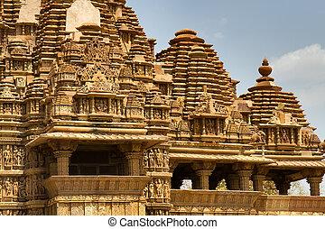 愛, 寺院, 色, ヒンズー教信徒, kajuraho., レトロ, 写真