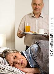 愛, 年長者, 丈夫, 服務, 早餐, 到, 妻子