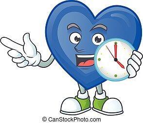 愛, 幸せ, 漫画, 時計, 青, スタイル, マスコット