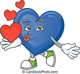 愛, 幸せ, 特徴, 漫画, 心, 青, マスコット