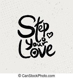 愛, -, 引用, 手, バックグラウンド。, ステップ, ベクトル, 黒, 引かれる, グランジ, あなたの