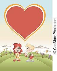 愛, 恋人, かわいい, 漫画, 子供
