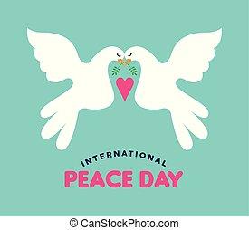 愛, 恋人, 平和, インターナショナル, 白, 日, 鳩