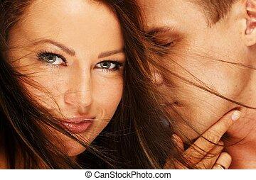 愛, 恋人, 若い, 肖像画, 美しい