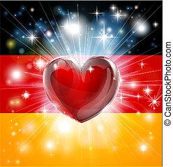 愛, 旗, 德國, 背景, 心
