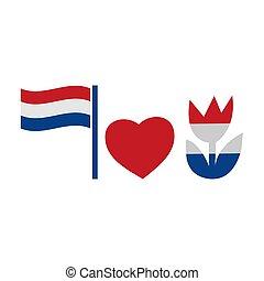 愛, 旗, design., ベクトル, icon., チューリップ, イラスト, 白い背景, 平ら, netherlands