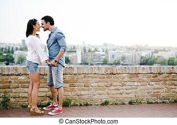 愛, 是, 夫婦, 在戶外, 其他, 每一個, 關閉