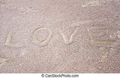 愛, 書かれた, 中に, 砂