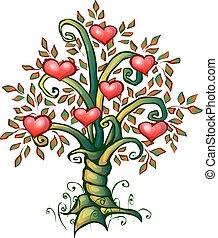 愛, 木, イラスト, ベクトル, 心, 漫画