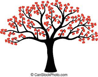 愛, 木, 作られた, 漫画, 定型