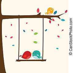 愛, 木, 鳥, 幸せ