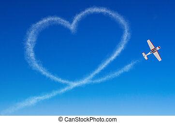 愛, 比ゆ的, 心, から, a, 白, 煙, 道, 飛行機。