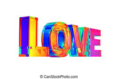愛, 白い背景, 多色刷り, 単語