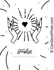 愛, 网, 手, 情人節, 魔術, 旗幟, 畫, 深奧, 天, card., 心不在焉地亂寫亂畫, 線, 風格, 真實, 略述
