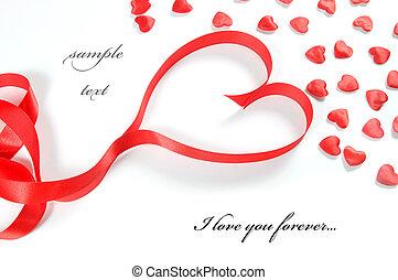 愛, 背景。, 小, 心, 以及, 帶子