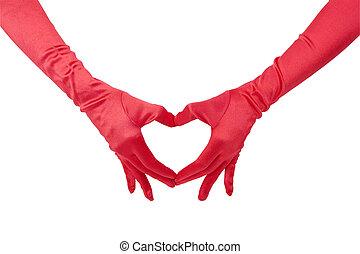 愛, 赤, 手袋
