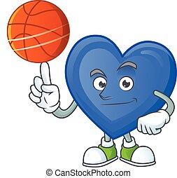 愛, 遊び, 幸せ, 特徴, 漫画, 顔, バスケットボール, 青