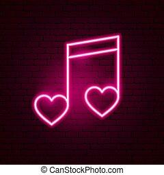 愛, 音楽, ネオン 印
