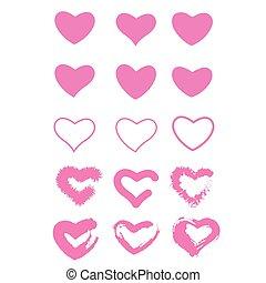 愛, banner., illustration., コレクション, セット, ベクトル, elements., カード, バックグラウンド。, 手ざわり, デザイン, ブラシ, ピンク, strokes., バレンタイン, グランジ, シンボル, hearts., 心, アイコン, 隔離された, 白, ペイントされた