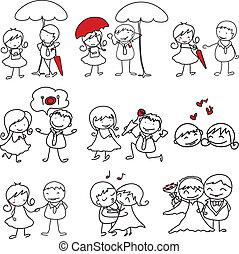 愛, hand-drawn, 特徴, 漫画