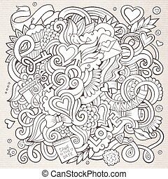 愛, hand-drawn, sketchy, デザイン, 背景, doodles.