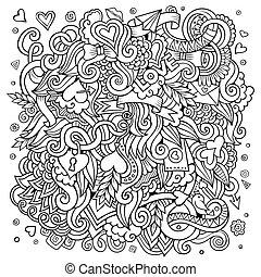 愛, hand-drawn, sketchy, デザイン, 背景, doodles., 漫画