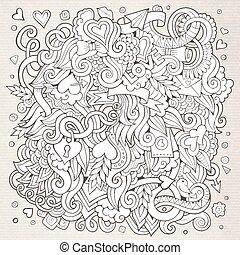 愛, hand-drawn, sketchy, ベクトル, デザイン, 背景, doodles., 漫画