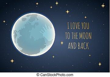 愛, illustration., 月, 背中, ベクトル, あなた