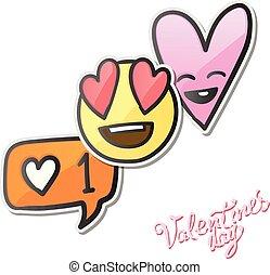 愛, illustration., emoticons, バレンタイン, アイコン, ベクトル, ステッカー, emoji, 日