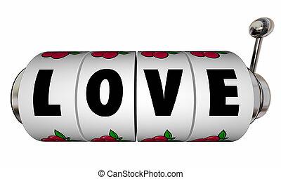 愛, jackpot, スロットマシン, 車輪, ダイヤル, ロマンス語, 勝利, 幸運, カジノのゲーム