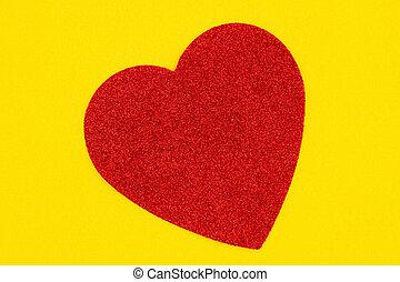 感到, 背景, 黃色, 材料, 心, 紅色