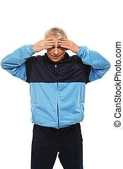 感到, 頭疼, 衣服, 人, 偏頭痛, 年長者, 訓練