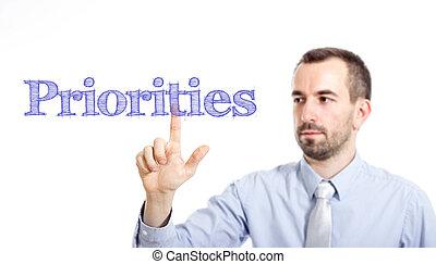 感動的である, テキスト, ビジネスマン, priorities, 若い, -, ひげ, 小さい