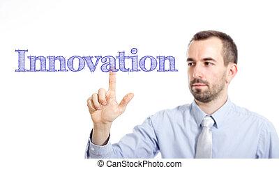 感動的である, ビジネスマン, テキスト, 若い, 革新, -, ひげ, 小さい
