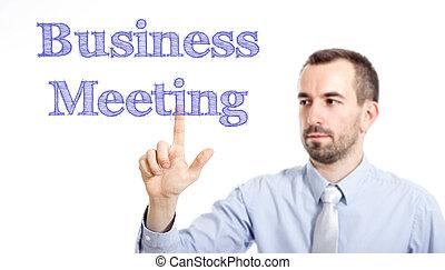 感動的である, ビジネス, ビジネスマン, テキスト, 若い, -, ミーティング, ひげ, 小さい