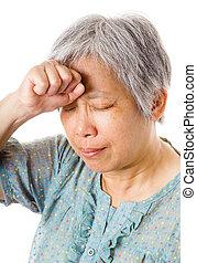 感受, 婦女, 亞洲人, 成熟, 頭疼