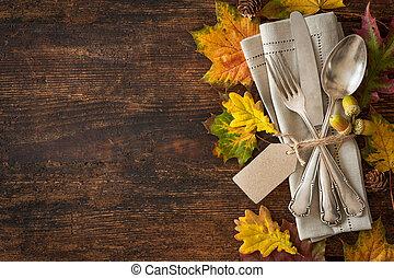 感恩, 秋天, 餐具