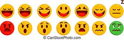 感情的, 隔離された, 楽しみ, 別, アイコン, 吐き気, 喜び, 驚き, 感情, タイプ, 憤慨, 現代, セット,...