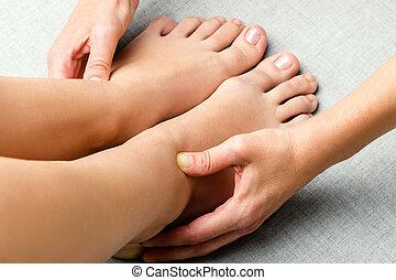 感情的, ankle., 神経, 区域, kinesiologist, 処理