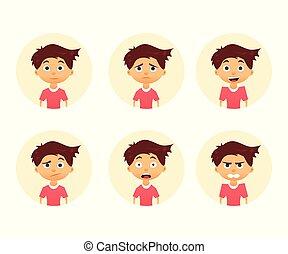 感情, かわいい, セット, expression., boy., イラスト, ベクトル, 平ら, 美顔術, デザイン