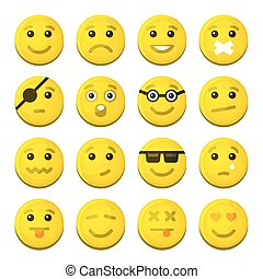 感情, アイコン, set., 黄色, ベクトル, 微笑