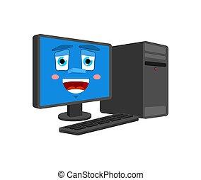 感情, コンピュータ, isolated., 幸運, プロセッサ, pc, ベクトル, うれしい, 漫画, データ, style., 幸せ