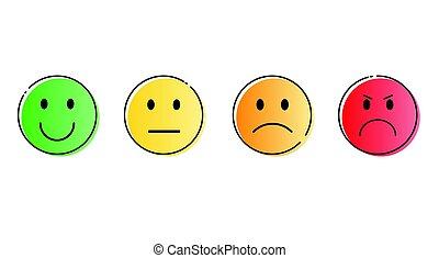 感情, セット, カラフルである, 人々, 顔, 微笑, 漫画, アイコン