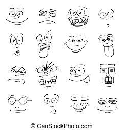 感情, セット, 漫画, 顔